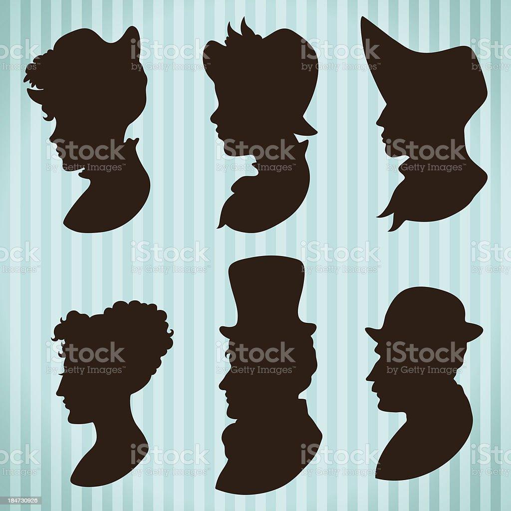 Menschen Silhouetten Vintage-style Profile – Vektorgrafik