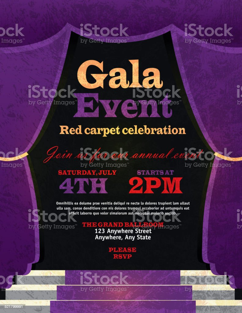 Vintage style purple curtian gala event invitation template stock vintage style purple curtian gala event invitation template royalty free vintage style purple curtian gala stopboris Images