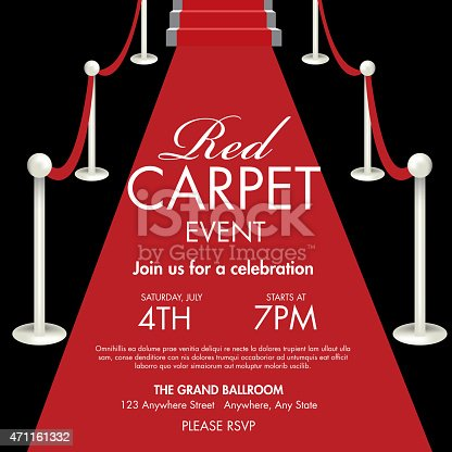 Vintage style Red and gold Carpet Event ticket party invitation template. Royalty free Vector illustration of a Red Carpet Event icon with angled carpet and staircase. Star on face of gala event admission ticket. Red and black. Fully editable and  easy to edit vector illustration layers. Includes sample text design and shadow below.