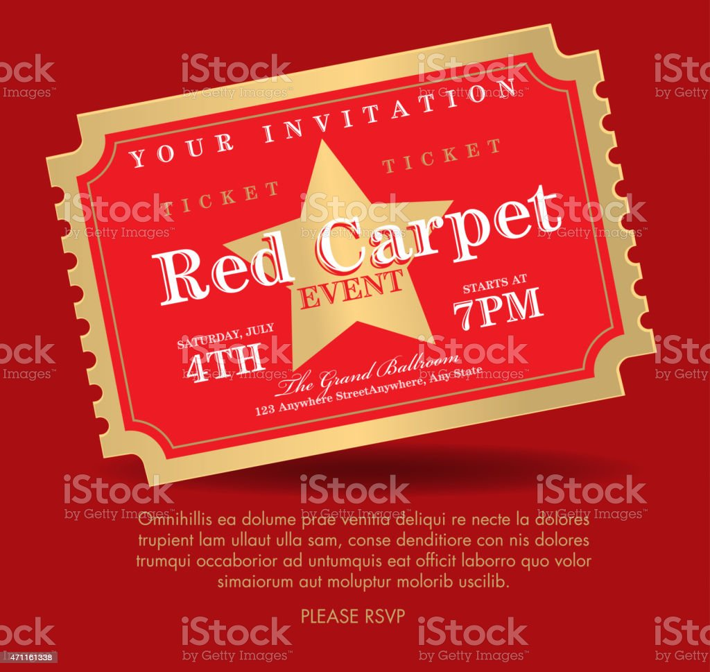Vintage Style Red And Gold Carpet Event Ticket Invitation