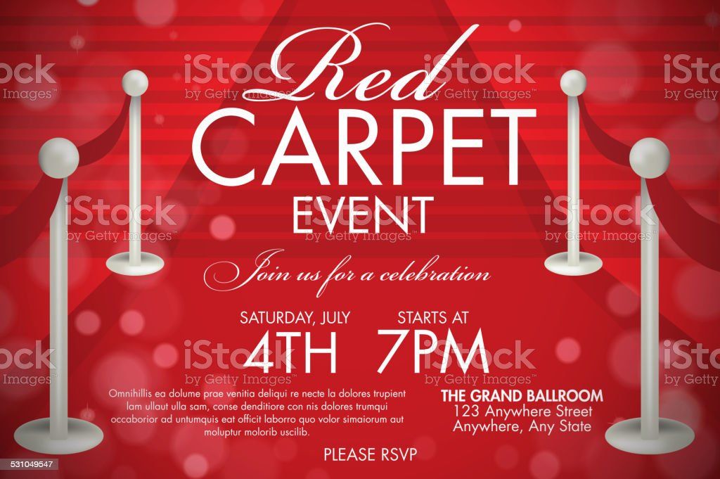 Vintage Style Red Carpet Event Invitation Template Stairs Stock