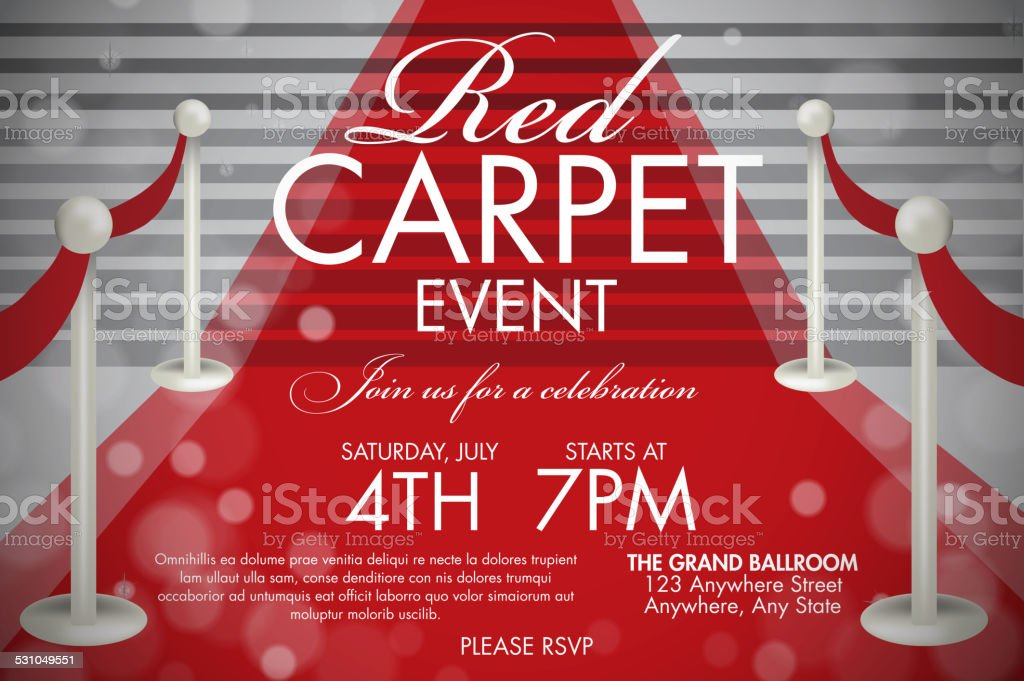 Vintage Style Red Carpet Event Invitation Template White