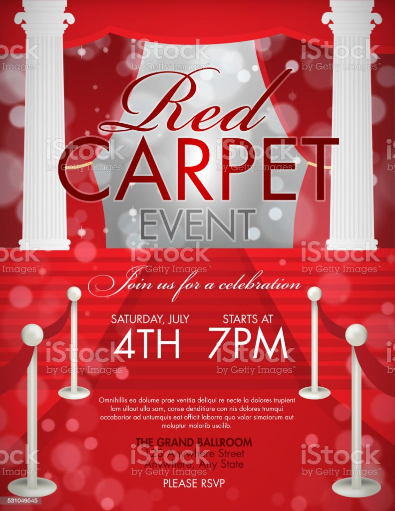 Vintage Style Red Carpet Event Invitation Template With White – Free Event Invitation Templates