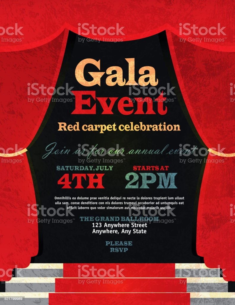 Vintage Style Red Curtian Gala Event Invitation Template stock – Free Event Invitation Templates
