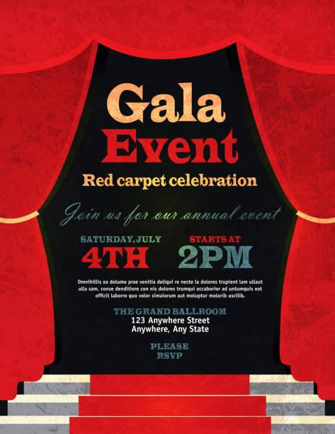 illustrazioni stock, clip art, cartoni animati e icone di tendenza di stile vintage rosso curtian evento di gala invito modello - sipario