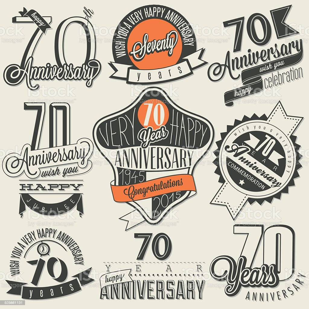 Vintage style Seventy anniversary collection. vector art illustration