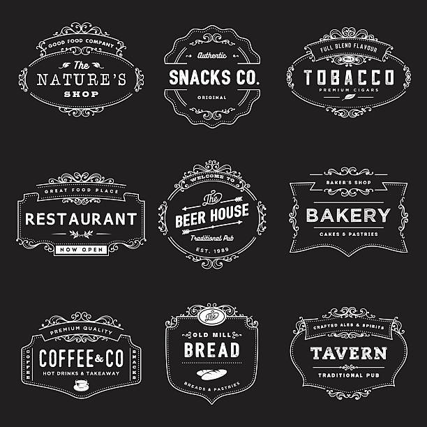 vintage style shop insignia - bakeries stock illustrations, clip art, cartoons, & icons