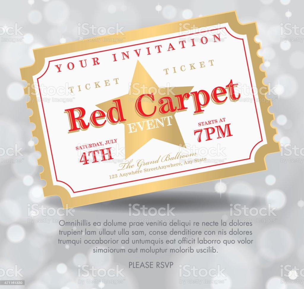 Vintage Style Silver Bokeh Carpet Event Ticket Invitation Template - Ticket invitation template
