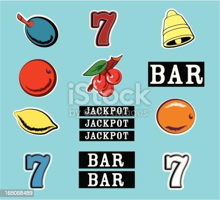 Vector illustrated slot machine graphics. Vintage style orange, lemon, bell, sevens, etc...