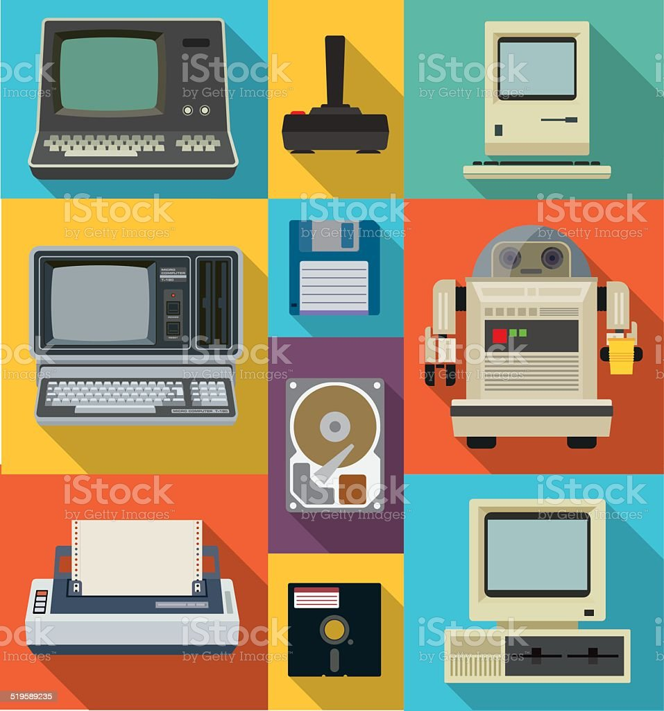 Vintage style technology vector art illustration