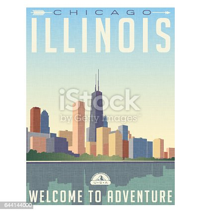vintage style travel poster or luggage sticker of chicago Illinois skyline