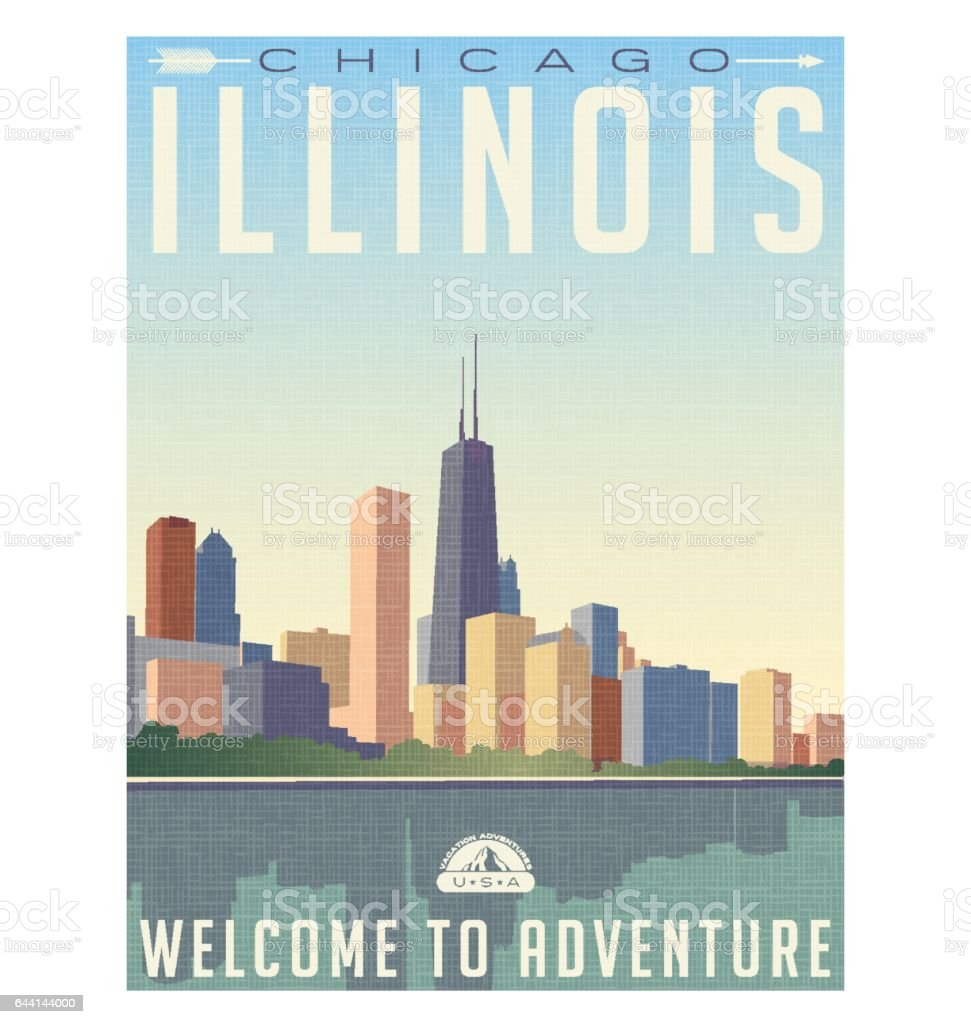 vintage style travel poster or luggage sticker of chicago Illinois skyline vector art illustration