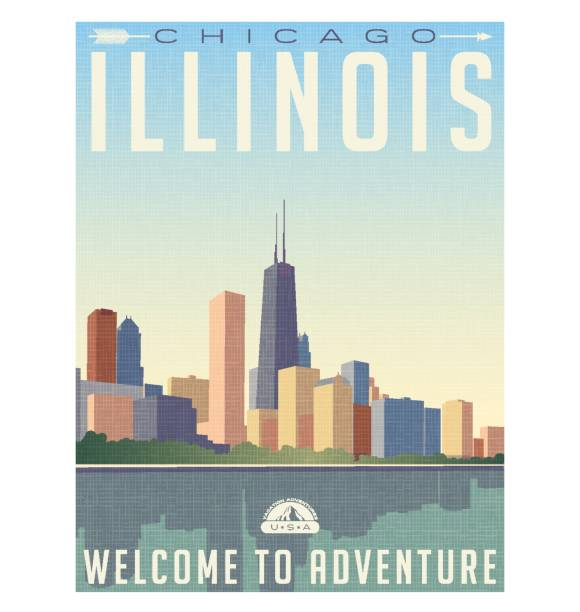 vintage style travel poster or luggage sticker of chicago Illinois skyline vintage style travel poster or luggage sticker of chicago Illinois skyline chicago stock illustrations