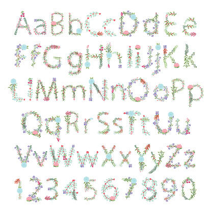 Vintage Style Vector Floral Alphabet with Uppercase and Lowercase Letters