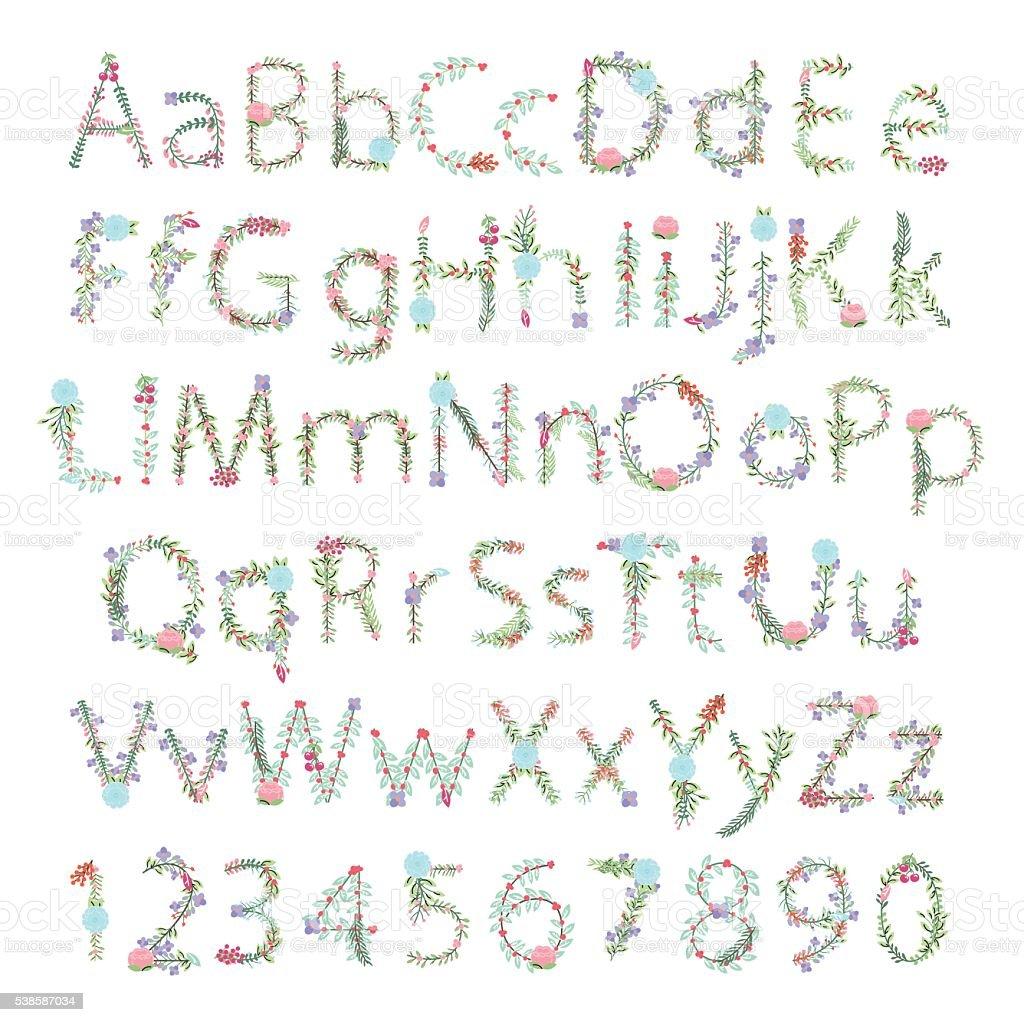 Vintage-Stil Vektor Floral Alphabet mit Großbuchstaben und Kleinbuchstaben – Vektorgrafik