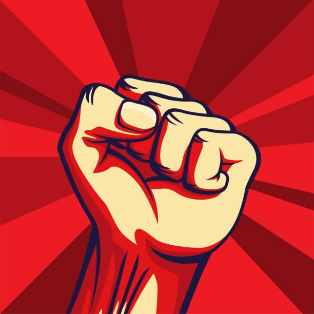 ヴィンテージスタイルベクトルフリーダムポスター。上げられた拳 - 拳 イラスト点のイラスト素材/クリップアート素材/マンガ素材/アイコン素材