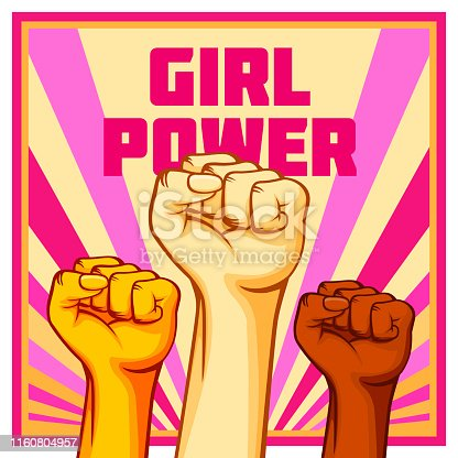 Vintage style vector Girl Power poster. Raised fists of the striking people, workers etc.