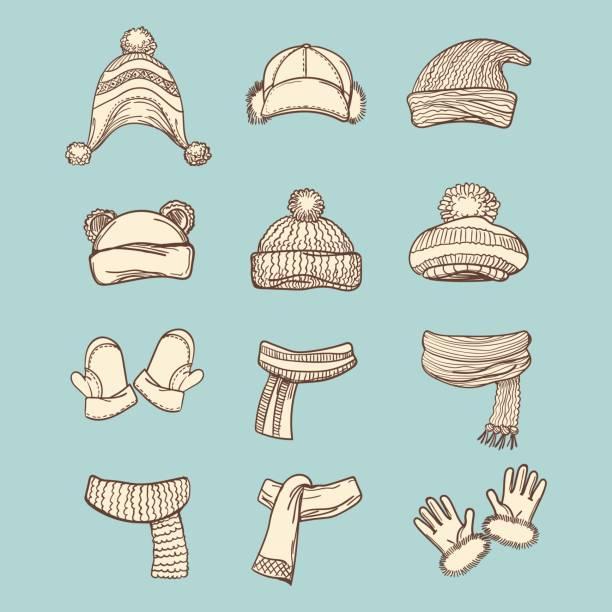 vintage-stil winterzubehör set - schals stock-grafiken, -clipart, -cartoons und -symbole