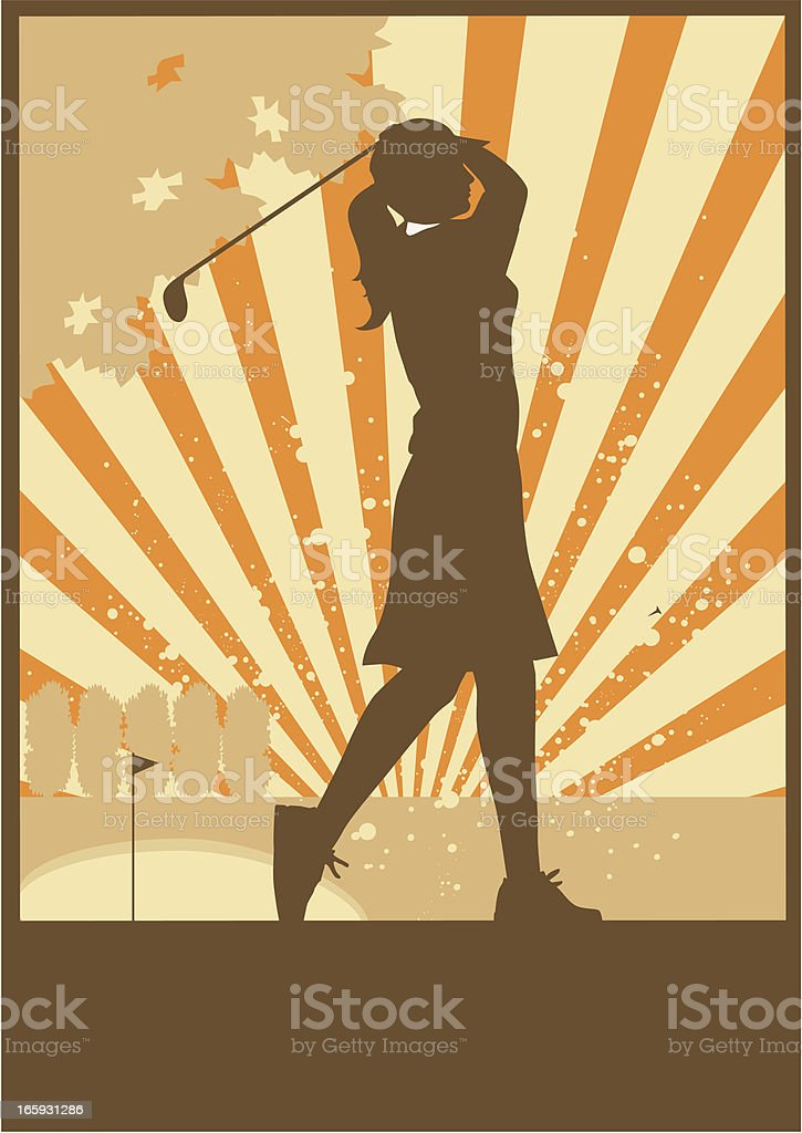 Vintage Style Woman Golfer Teeing off. royalty-free stock vector art