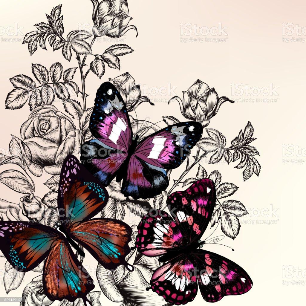 Stile Vintage Di Sfondo Con Fiori Rosa Disegnato A Mano Libera E