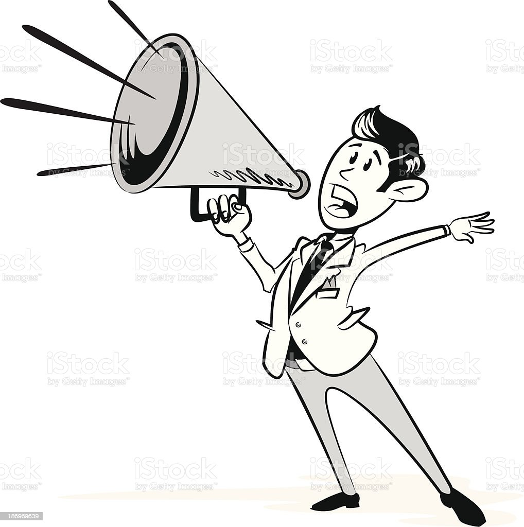 Vintage Styled Businessman with his Megaphone - Royalty-free Adult stock vector