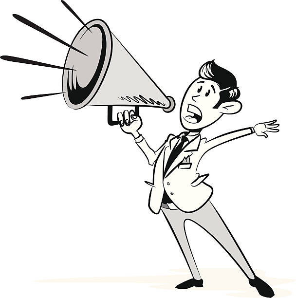 Vintage Styled Businessman with his Megaphone vector art illustration