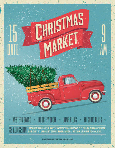 stockillustraties, clipart, cartoons en iconen met vintage styled kerst markt poster of flyer template met retro rode pick-up met kerstboom aan boord. vectorillustratie. - markt
