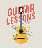 Vintage Styled Guitar Lessons Poster Flyer Banner Poster Template. Perfecto for your guitar classes. Vector Illustration.