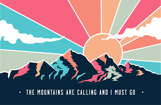Vintage styled mountains landscape with mountains peaks and retro colored sky with clouds. Vector eps 10 illustration