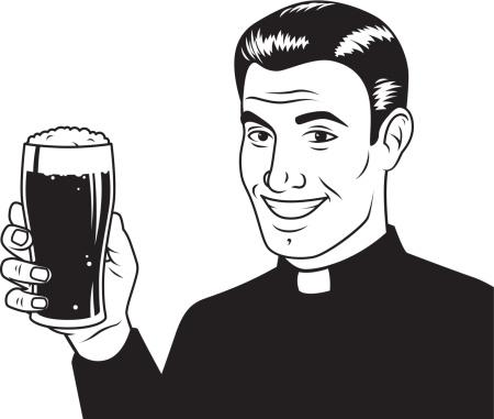 Vintage Styled Priest with Beer