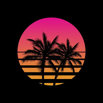 Vintage styled sunset with palm trees silhouettes logo or icon gesign template on black background. Vaporwave sun. Vector illustration