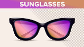 Vintage Stylish Sunglasses, Trendy Vector 3D Shades