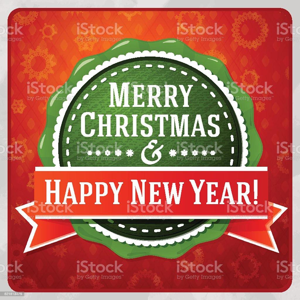 Stilizzato Verde Vintage Buon Natale E Felice Anno Nuovo Etichetta -  Immagini vettoriali stock e altre immagini di 2014 - iStock