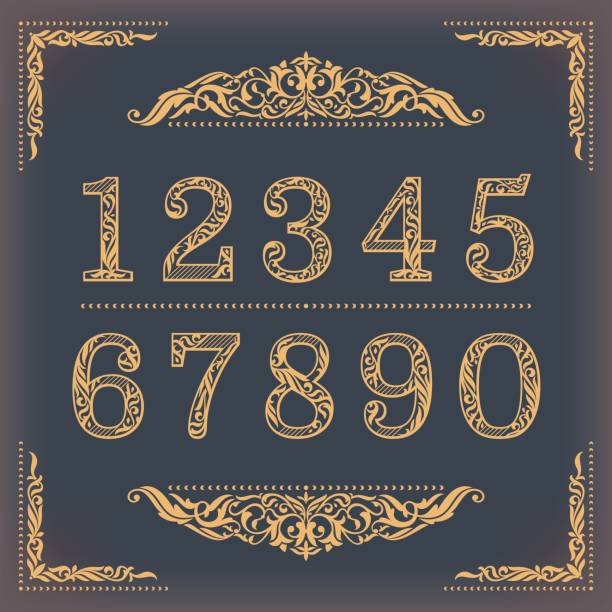 vintage stylized numbers with floral elements - dane finansowe stock illustrations
