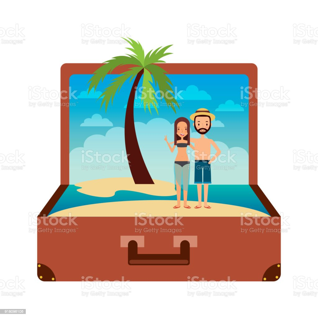vintage suitcase couple inside with beach palm vacation vector art illustration