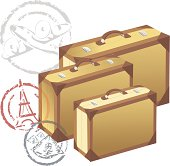 vintage cardboard or leather suitcases and travel rubber stamps. family ready for departure