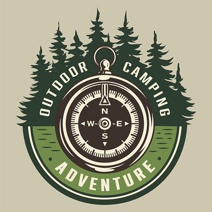 Vintage summer adventure round emblem