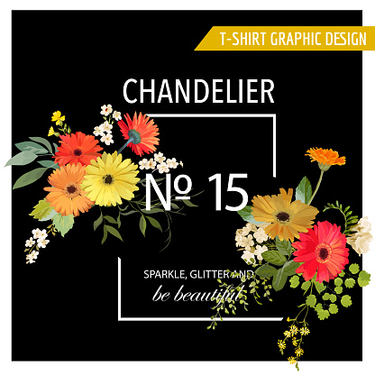 Vintage Summer and Spring Flowers Graphic Design for T-shirt, Fashion, Prints in Vector