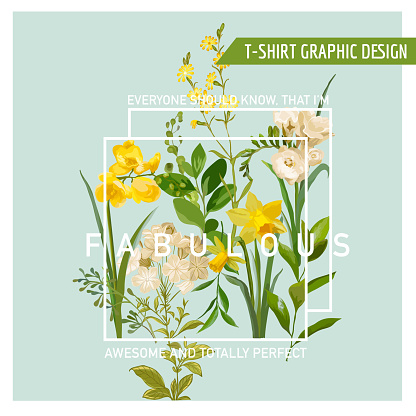 Vintage Summer and Spring Flowers Graphic Design for T-shirt