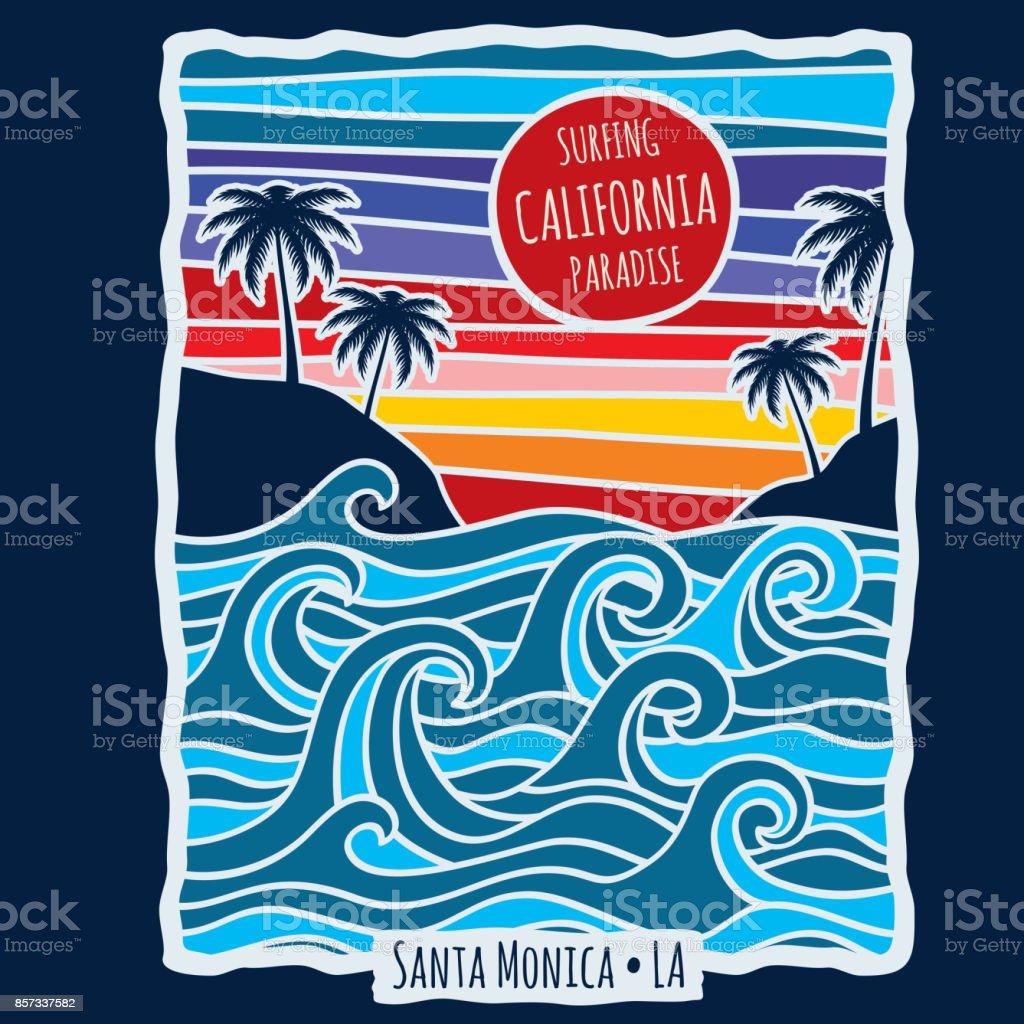 Vintage summer california surfing t shirt print design vector illustration vector art illustration