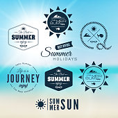 Vintage summer holidays typography design with labels, icons elements collection, vector background
