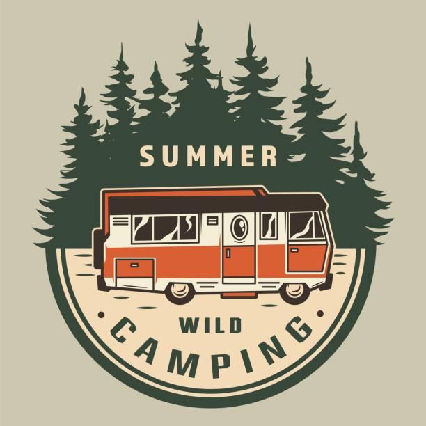 Vintage summer outdoor adventure logo Vintage summer outdoor adventure logo with travel truck and forest landscape isolated vector illustration motor home stock illustrations