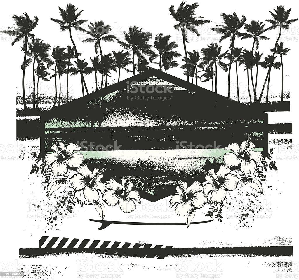 vintage summer scene with shield and hibiscus royalty-free stock vector art