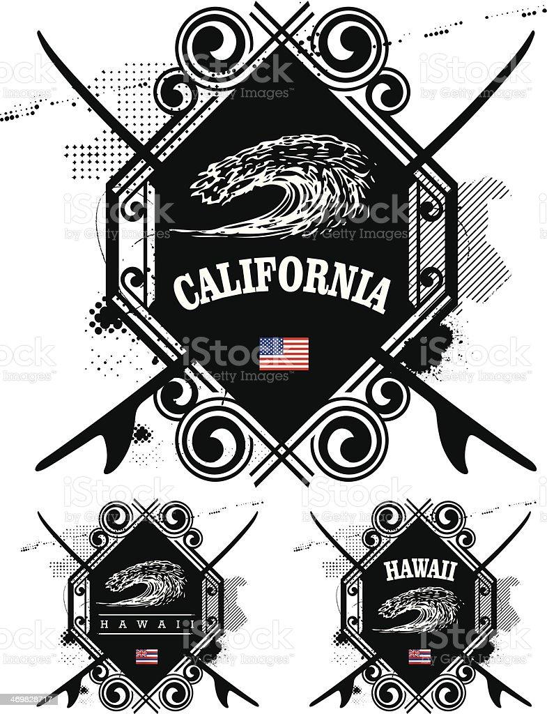 vintage summer surf shields with big wave vector art illustration