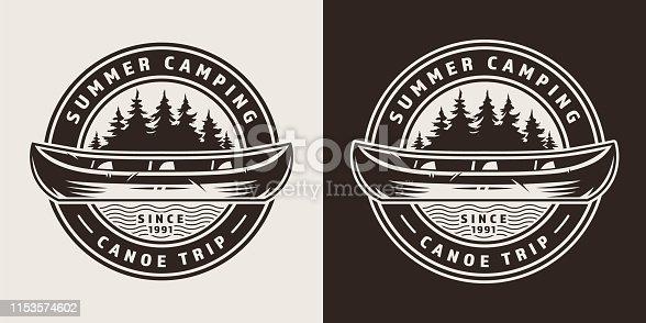 istock Vintage summer trip round emblem 1153574602