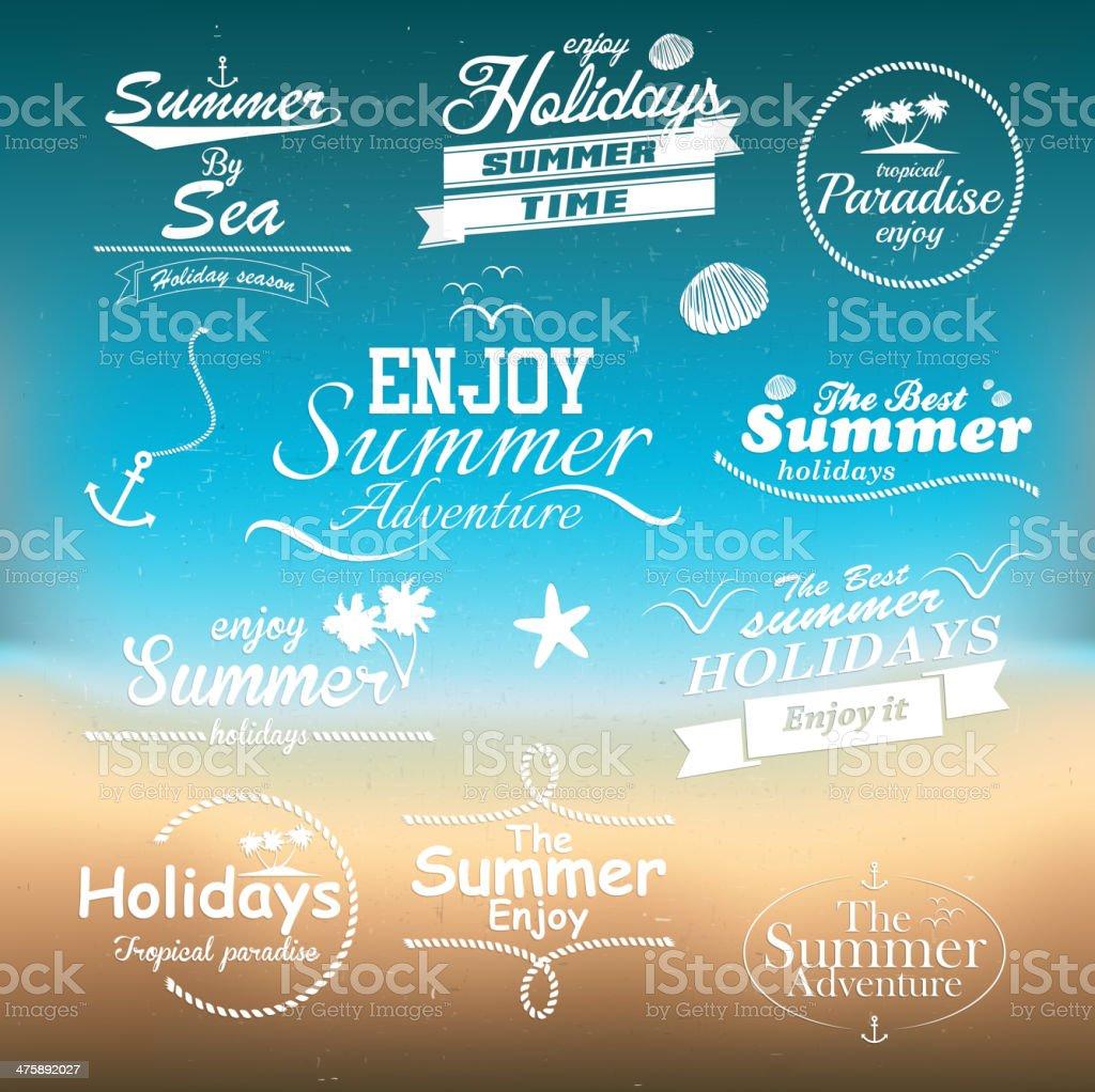 Vintage summer typography design with labels. Vectors vector art illustration