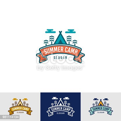 Vintage Summer Camp icon Template