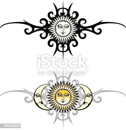 Ilustración De Vintage Sol Y Luna Tatuaje Tribal Y Más Banco De