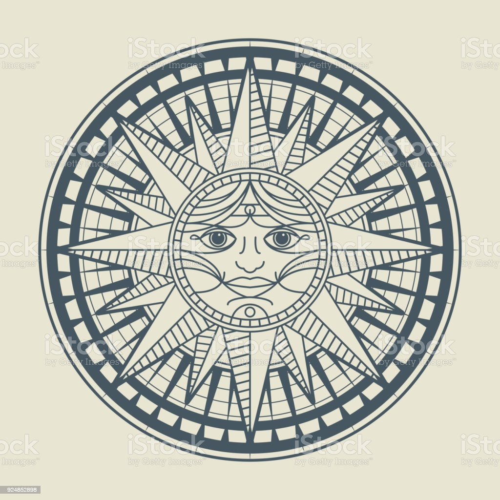 Vintage Sun Face Compass Rose Royalty Free Stock Vector Art