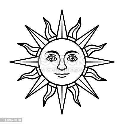 Antique sun symbol with face, vintage heraldic emblem. Sun of May, Inca god Inti, from Argentina and Uruguay flag. Black and white drawing, isolated vector illustration.